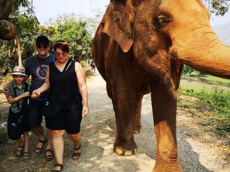 Family walking with an elephant